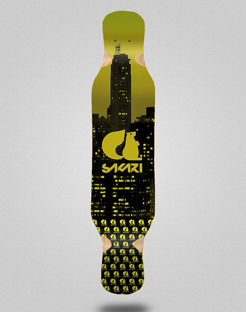 Sakari City yellow longboard deck 46x10