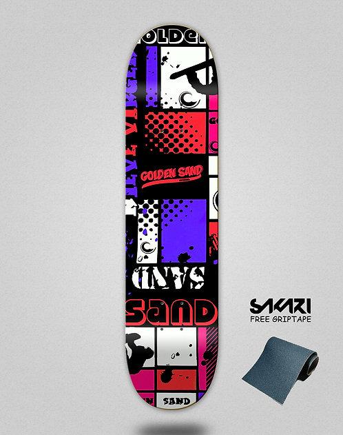 Golden Sand Snow full red skate deck