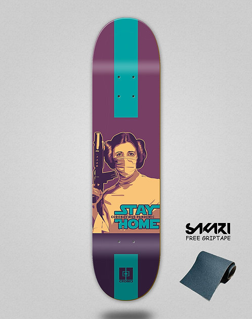 Cromic Covid Stay home skate deck
