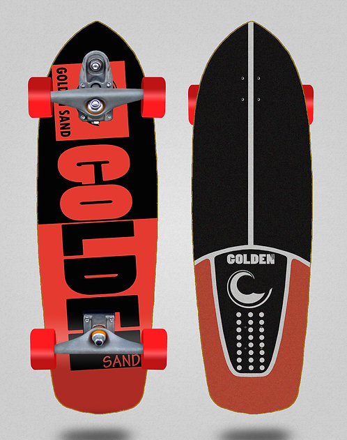 Golden Sand surfskate T12 trucks Degraded tone black red 34