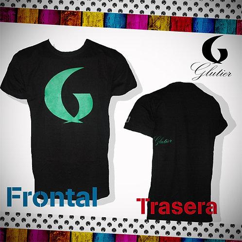 Glutier. surfskate T-shirt black green