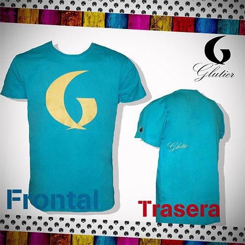 Glutier. surfskate T-shirt Blue yellow