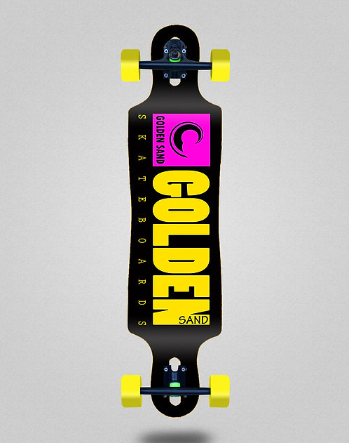 Golden Sand icon black pink yellow longboard complete 40x9