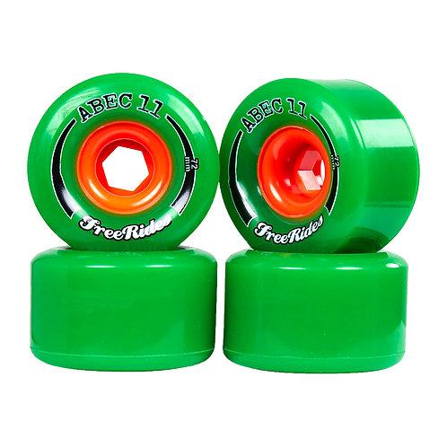 Longboard wheels ruedas (set 4) Abec 11 Freerides 72mm 84a