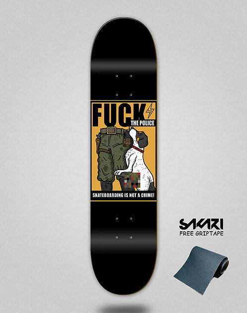 Skate shok deck fck the police black