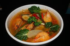 Green Banana Leaf Dish Shrimp Soup