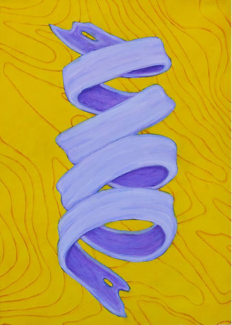 """Study in purple & yellow (icemelt)  graphite & acrylic on paper 14"""" x 10"""" 2021 painting by artist Bill Byers"""