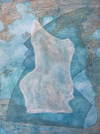 "profile in ice (carina) acrylic on wood panel 16"" x 12"" 2020  painting of iceberg, map, glacier and constellation by artist Bill Byers"