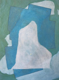 "profile in ice (vulpecula) acrylic on wood panel 16"" x 12"" 2020  painting of iceberg, map, glacier and constellation by artist Bill Byers"