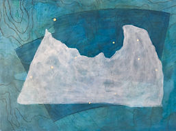 "profile in ice (pavo) acrylic on  wood panel 12"" x 16"" 2020 painting of iceberg, map, glacier and constellation by artist Bill Byers"