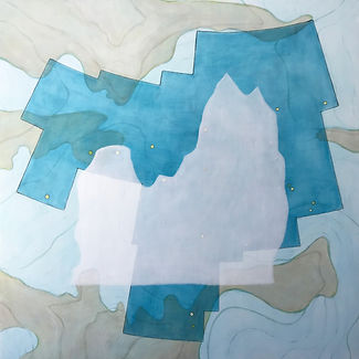 "profile in ice (ursa major) acrylic on wood panel 20"" x 20"" 2020  painting of glacier, map, iceberg and constellation by artist Bill Byers"