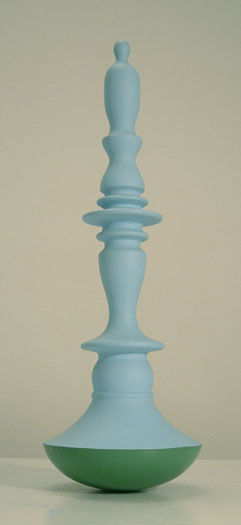 """""""The Sky Was Blue and Tall as Hell""""  painted wood and lead22"""" x 7"""" 1999 abstract landscape sculpture by artist bill byers art"""
