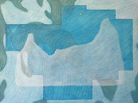 "profile in ice (virgo) acrylic on wood panel 12"" x 16"" 2020 painting of iceberg, map, glacier and constellation by artist Bill Byers"