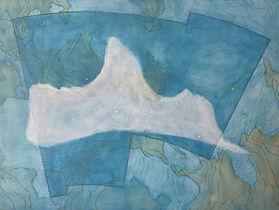 "profile in ice (tucana) acrylic on wood panel 12"" x 16"" 2020  painting of iceberg, map, glacier and constellation by artist Bill Byers"