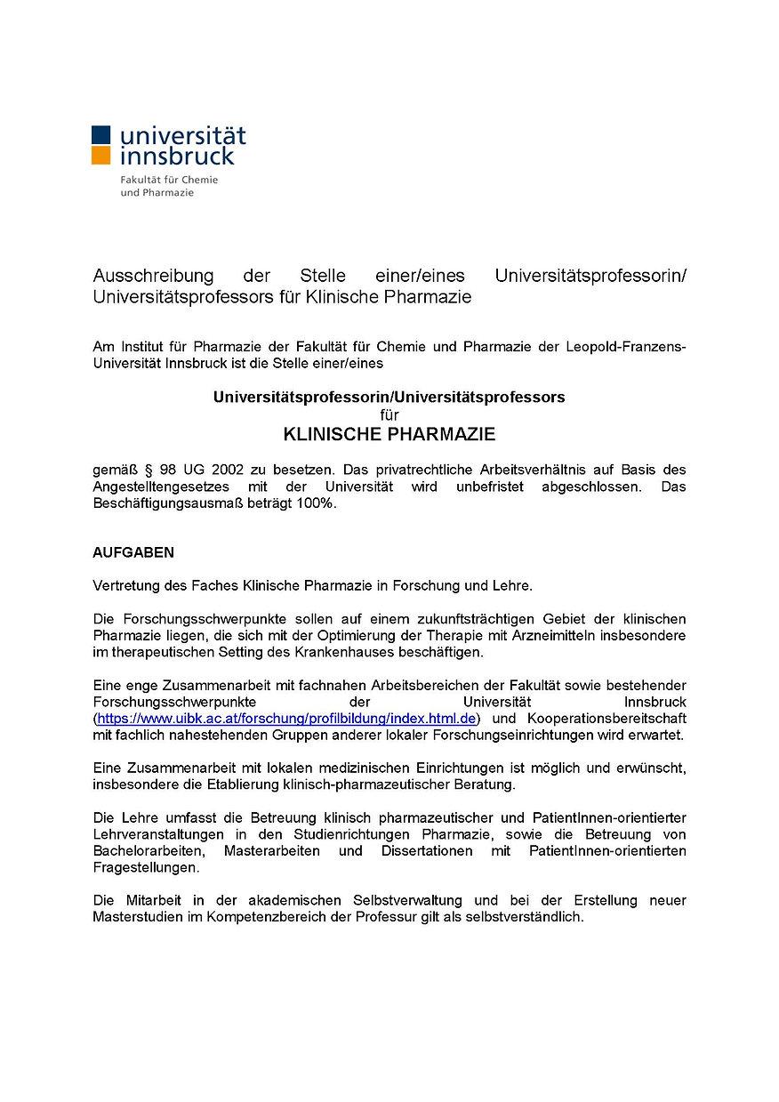Ausschreibung Klinische Pharmazie Langve