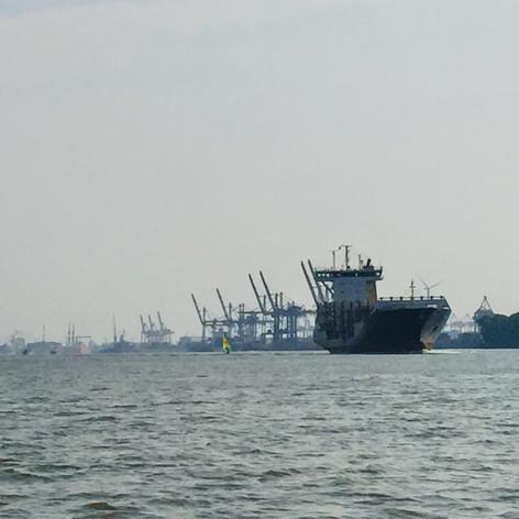 Man beachte den Katamaran an Steuerbord des Frachters!
