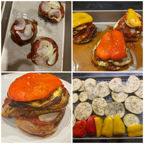 Portabella Mushroom, Pepper, Eggplant, Tower Recipe