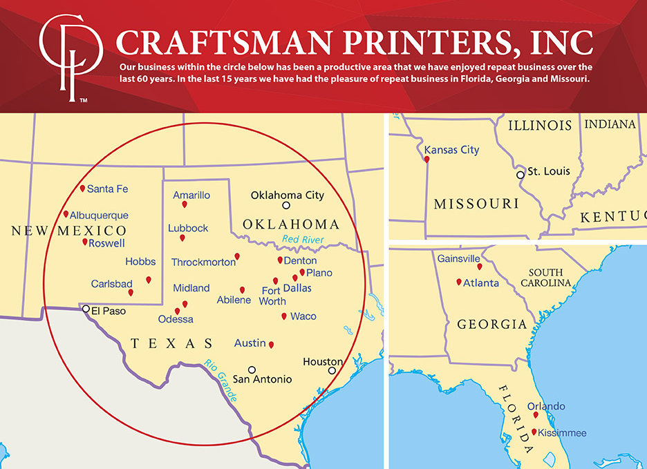 Map area of were Craftsman Printers covers: Texas, Oklahoma and New Mexico, with clients all over the US
