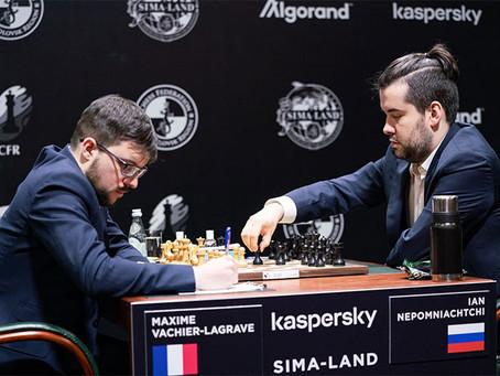 Lagrave vence e divide a liderança com Nepo, mas Torneio de Candidatos é suspenso