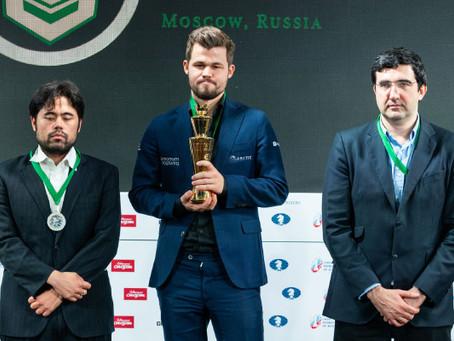Magnus Carlsen conquista novamente a Tríplice Coroa do Xadrez Mundial!