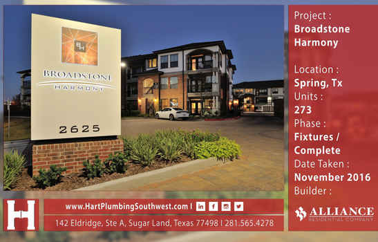 Houston Multifamily Plumbing Project : Broadstone Harmony