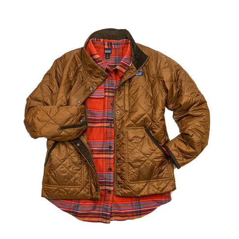 Patagonia women's long sleeve fjord flannel shirt and pasture jacket.