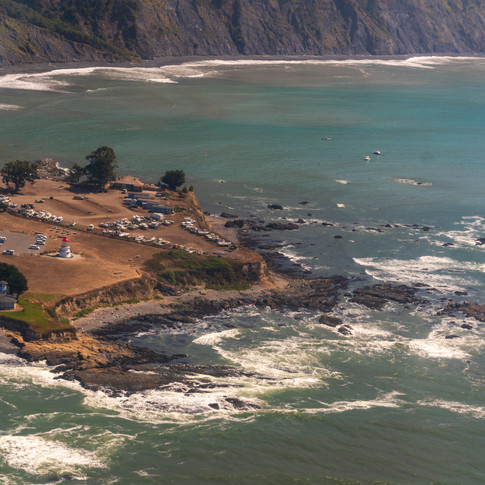 Aerial shot of Shelter Cove, CA