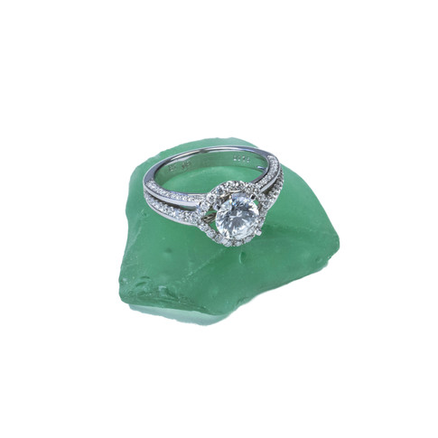 Diamond ring on sea glass.