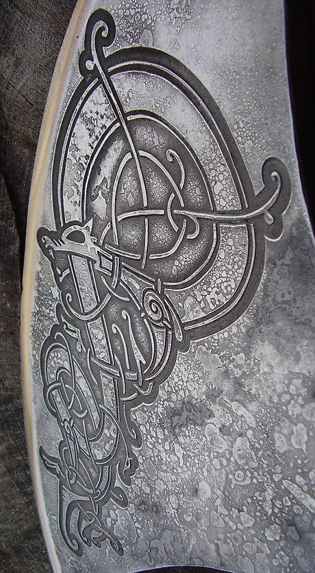 engraved viking axe