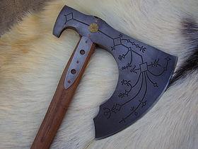 fantasy engraved Kratos axe Leviathan
