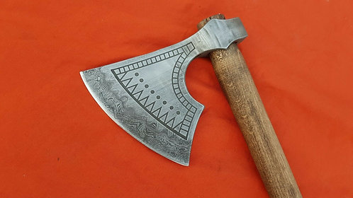 Viking bearded axe with damascus edge
