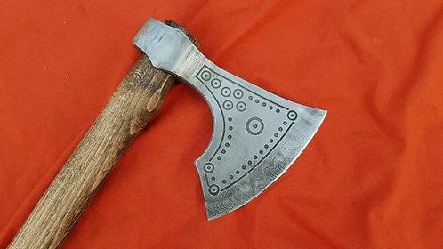 Viking bearded axe with damascus edge