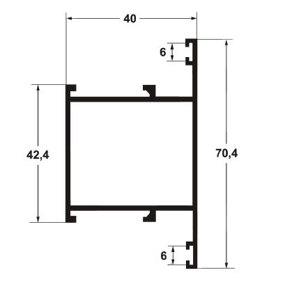 Профиль импоста дверной 6000 мм