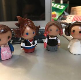 Mini Clay Figurines: Eleven, Sora, Ladybird, and Princess Leia
