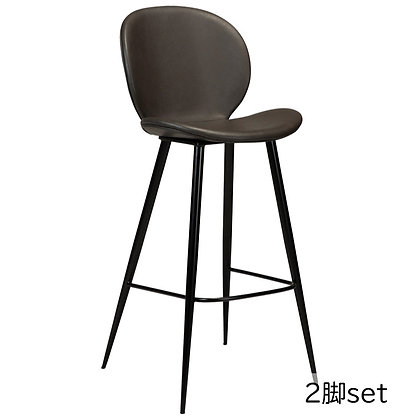 "DAN FORM ""CLOUD Bar Stool"" Vin. grey art. leather w/round black legs (2脚set)"