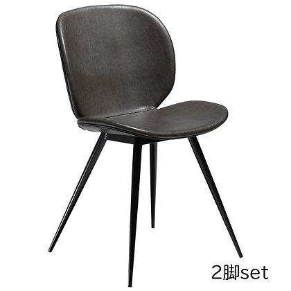 "DAN FORM ""CLOUD Chair"" Vin. grey art. leather w/round black legs (2脚set)"