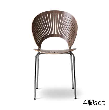 """Fredericia """"3398 TRINIDAD chair"""" Walnut Lacquered - chrome (4脚set)"""