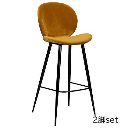 "DAN FORM ""CLOUD Bar Stool"" Bronze velvet w/round black legs (2脚set)"