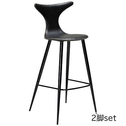 "DAN FORM ""DOLPHIN Bar Stool"" Vin. black art. leather w/round black legs (2脚set)"