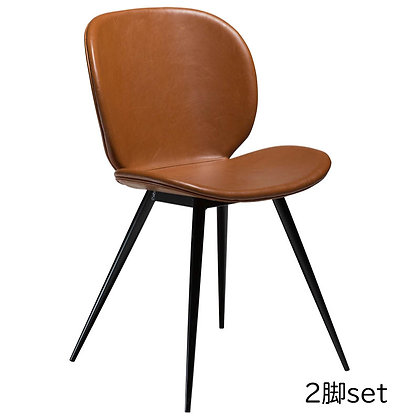 "DAN FORM ""CLOUD Chair"" Vin. light brown art. leather w/round black legs (2脚set)"