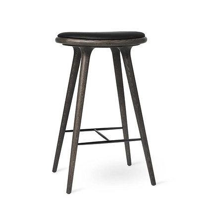"""mater """"High Stool"""" Sirka Grey Stain Oak Black leather seat 74cm"""