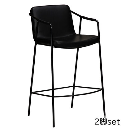"DAN FORM ""BOTO Counter Stool"" Vin. black art. leather w/black legs (2脚set)"