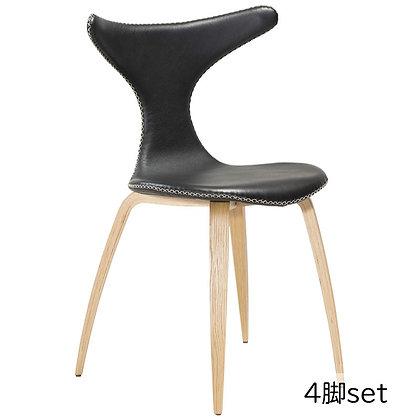 """DAN FORM """"DOLPHIN Chair"""" Black leather w/oak legs (4脚set)"""