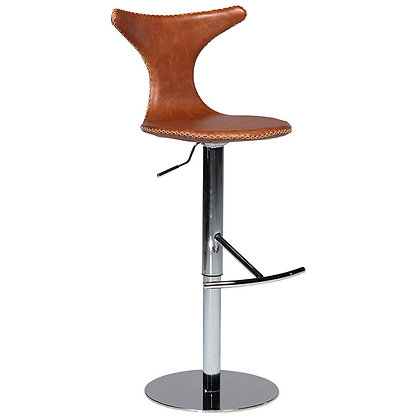 "DAN FORM ""DOLPHIN Bar Stool"" GAS LIFT Light brown leather"