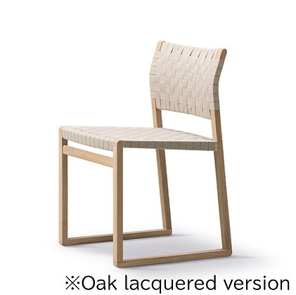 "Fredericia ""BM61 Chair Linen Webbing"" Oak lacquered"