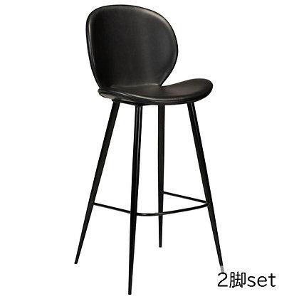 "DAN FORM ""CLOUD Bar Stool"" Vin. black art. leather w/round black legs (2脚set)"