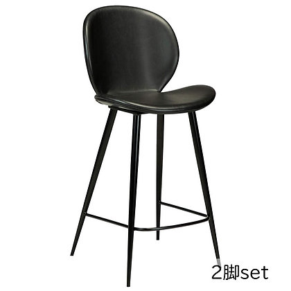 "DAN FORM ""CLOUD Counter Stool"" Vin. black art. leather w/round black legs(2脚set)"