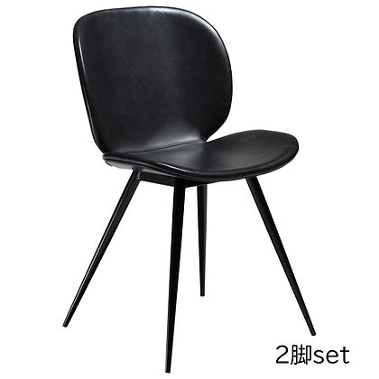 "DAN FORM ""CLOUD Chair"" Vin. black art. leather w/round black legs (2脚set)"