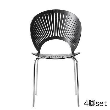 "Fredericia ""3398 TRINIDAD chair"" Black Ash - chrome (4脚set)"