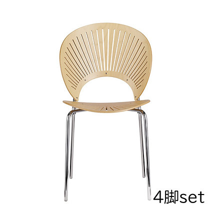 "Fredericia ""3398 TRINIDAD chair"" Beech Lacquered - chrome (4脚set)"